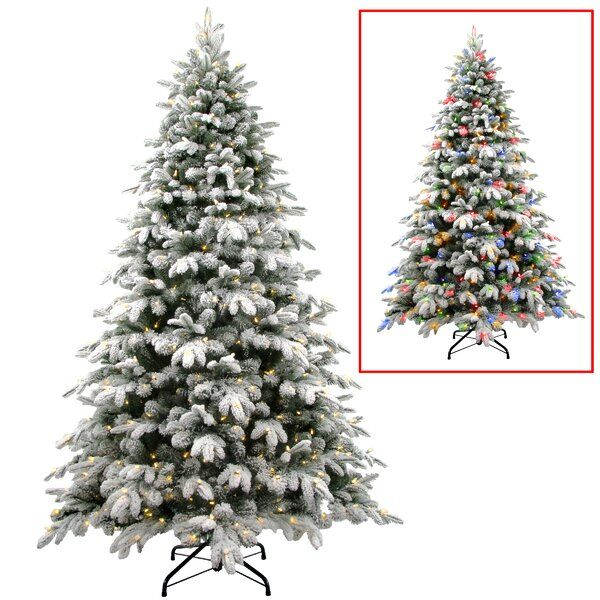 Snowy Avalanche 7 5 Green Spruce Artificial Christmas Tree With 600 Clear Lights White Artificial Christmas Tree Artificial Christmas Tree Pre Lit Christmas Tree