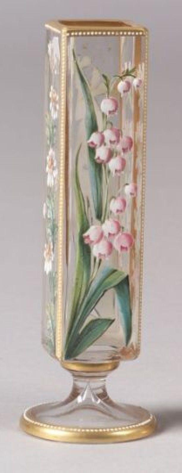 enameled glass vases Possibly Lobmeyer Austria late