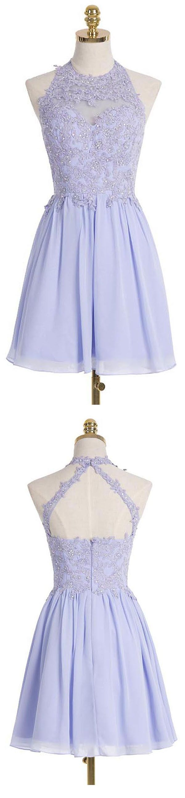 A-line Halter Short Lilac Chiffon Homecoming Dress with Appliques Crystal