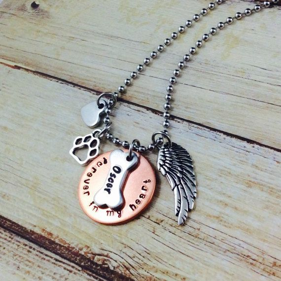 Personalised Dog Memorial Charm Necklace-Hand Stamped-Pet Name