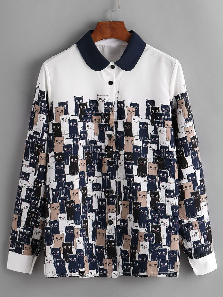 Shop Cats Print Contrast Collar Shirt online. SheIn offers Cats Print Contrast Collar Shirt & more to fit your fashionable needs.
