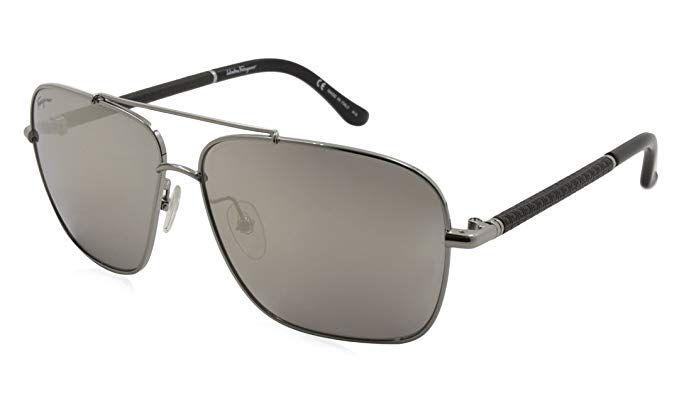 ad75b1dea7c Salvatore Ferragamo Sunglasses Aviator SF145SL 035 SHINY GUNMETAL 59x12x140  Review