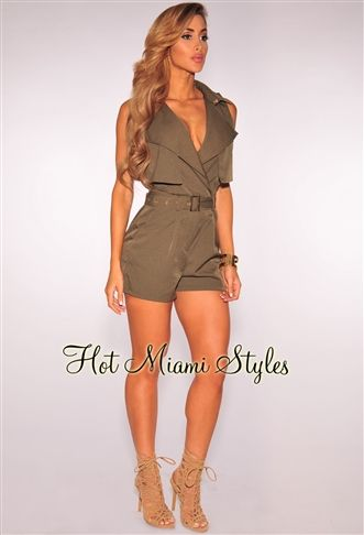 Olive Collared Belted Romper clubwear cocktail Women's clothing hot miami styles hotmiamistyles hotmiamistyles.com - Worn by Melissa Gorga housewives of New jersey