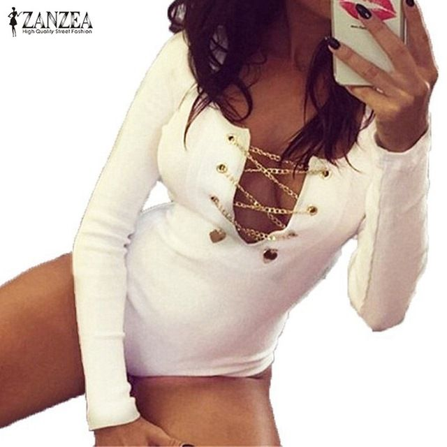 Price: US $5.89  Rompers Womens Slim Fit Playsuits Long Sleeve Tops Jumpsuit Sexy Bodysuit Short Overalls Ladies Lace Up