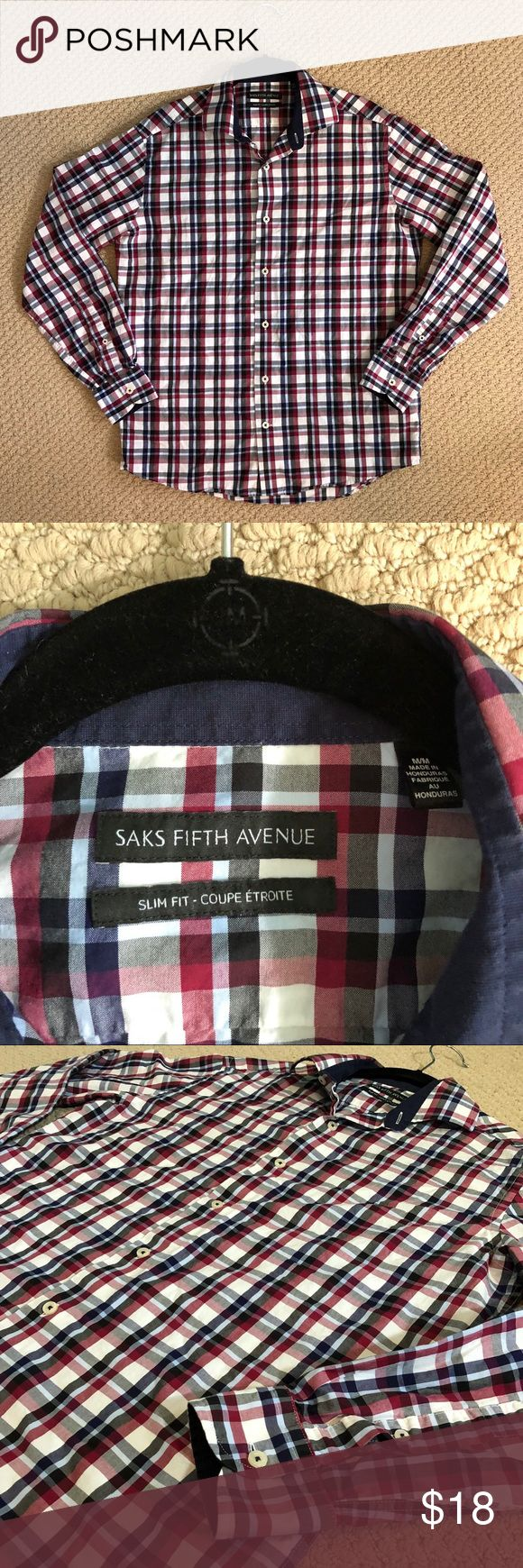 SALE! EUC Saks Fifth Avenue Plaid Button Down This button down from Saks Fifth Avenue is in excellent condition! It features a red, blue, and black plaid design and a slim fit. Perfect with jeans! Size Medium Saks Fifth Avenue Shirts Casual Button Down Shirts