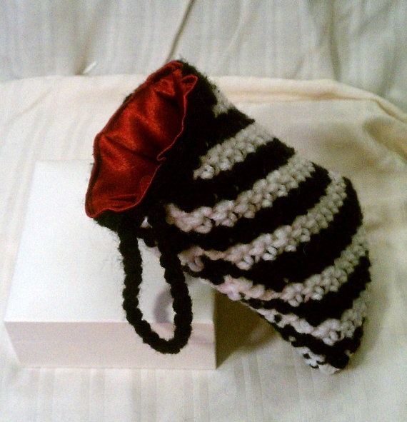 *Second sold item* Awesome Zebra cell phone drawstring pouch with red satin lining.