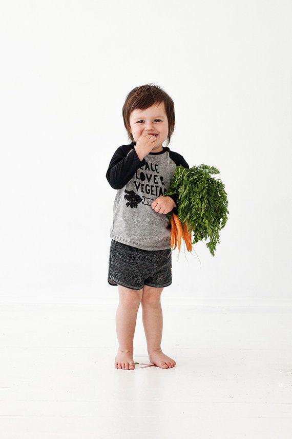 Peace Love and Vegetables kids raglan by PaulandPaulaShop on Etsy