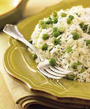 Rice and Peas                Jasmine Rice with Green Onions, Peas, and Lemon Recipe   | Epicurious.com