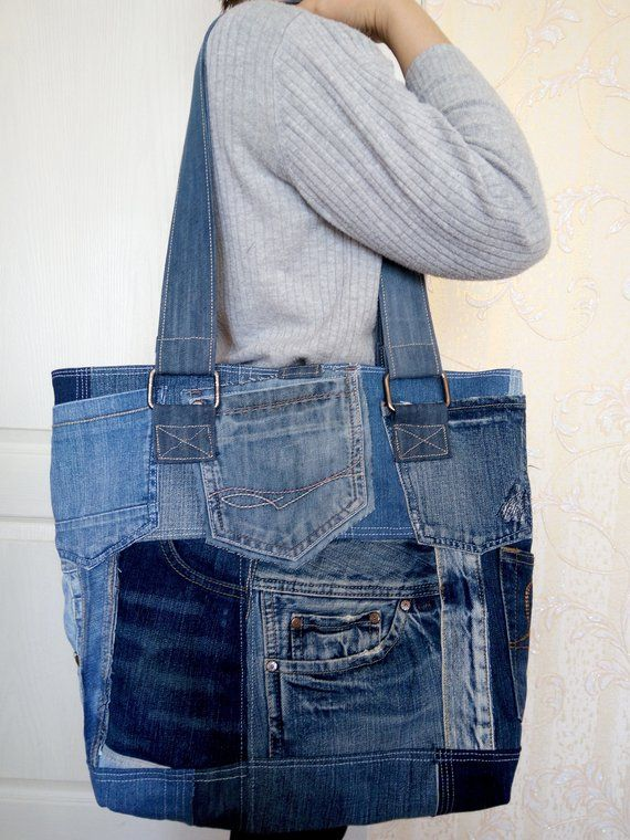 women s bag of jeans stylish bag of recycled jeans an old jeans