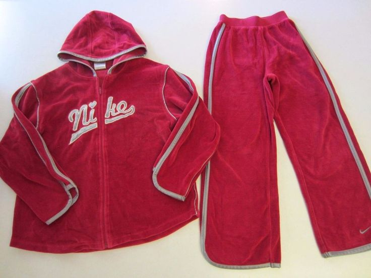 Nike Sweat Suit 6X Raspberry Silver Velour Jacket Hoodie Pants Girl #Nike