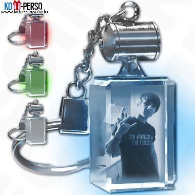 Porte-cles lumineux bloc de verre rectangulaire gravure au laser de votre photo personnalise