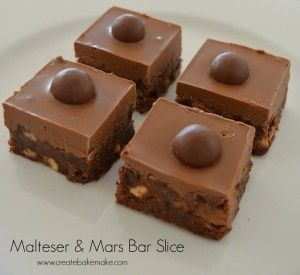 Malteser and Mars Bar Slice! Looks easy, no bake just melt and chill!!! NOT HEALTHY, lol.