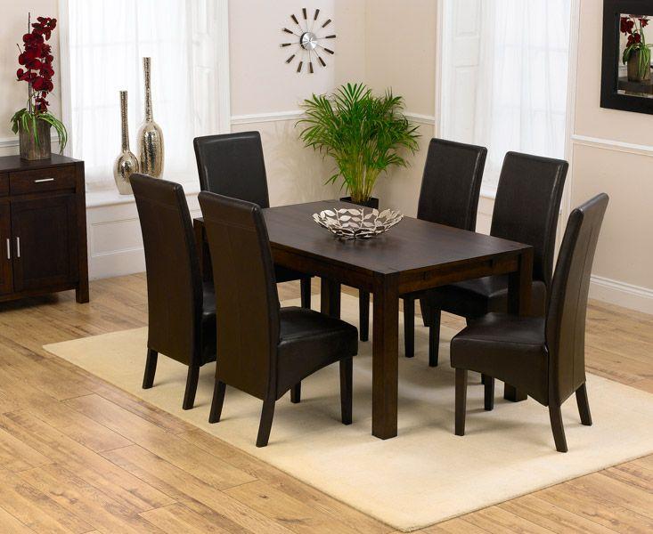 Verona 150cm Dark Solid Oak Extending Dining Table with 8 Dakota Chairs