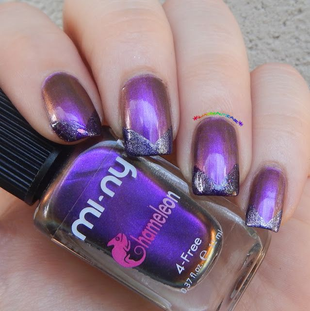 Chevron nail art using MI-NY purple nail polishes