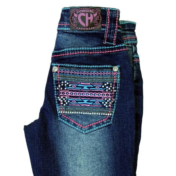 Cowgirl Hardware Youth Girl's Pink Aztec Boot Cut Bling Jeans 402005-450-JK