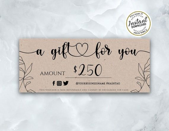 Kraft Gift Certificate Template Simple Editable Gift Voucher With Heart Instant Download Printable Gift Card Template A Gift For You Printable Gift Cards Gift Certificate Template Gift Card Template