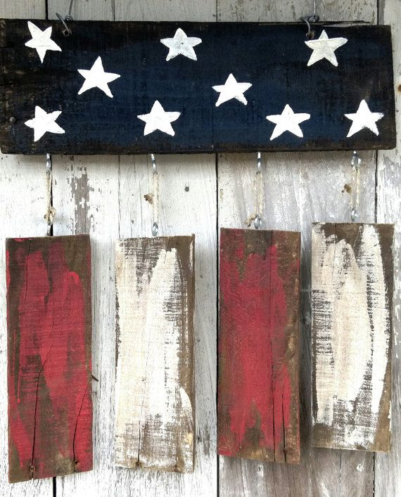 American Flag 4th of July Wreath Rustic Home by PaePaesPlace