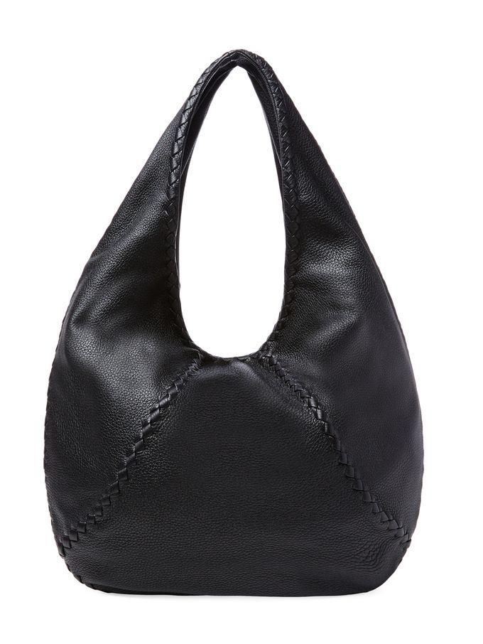 Woven Trim Large Leather Hobo from Designer Handbag Shop: Perfect Carryalls on Gilt