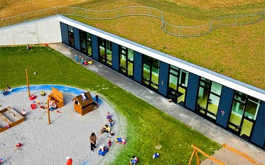 The Bernts Have Day Care Center in Denmark, designed by Henning Larsen, has an abundance of green space which include a green roof and an herb and vegetable garden