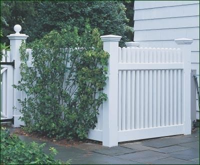 Nice fencing posts.  Also could make a central heating boilet vent cover?  Air Conditioning Enclosure - A fence structure transforms an unattractive air conditioning unit and integrates it beautifully into the garden.