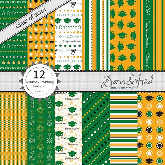 Class of 2014 Graduation papers - school colours green & gold -  digital papers for scrapbooking, cards, invites, parties - Instant download on Etsy, $4.00