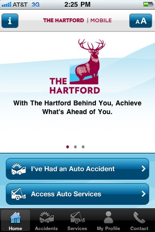 Hartford Insurance (iPhone):  When you're on the road, it's nice to know help is there when you need it. With The Hartford | Mobile™ app , assistance is just a touch away.