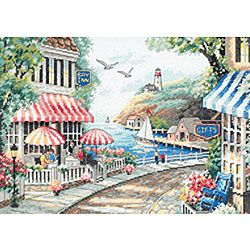 Cafe by the Sea Counted Cross Stitch Kit   Overstock™ Shopping - Big Discounts on Dimensions Cross Stitch Kits