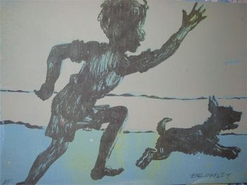"""""""Silhouette Boy Running With Dog"""" by David Bromley. Screenprint. 76 x 56 cm. Available for purchase, check it out at www.smythgalleries.co.nz"""