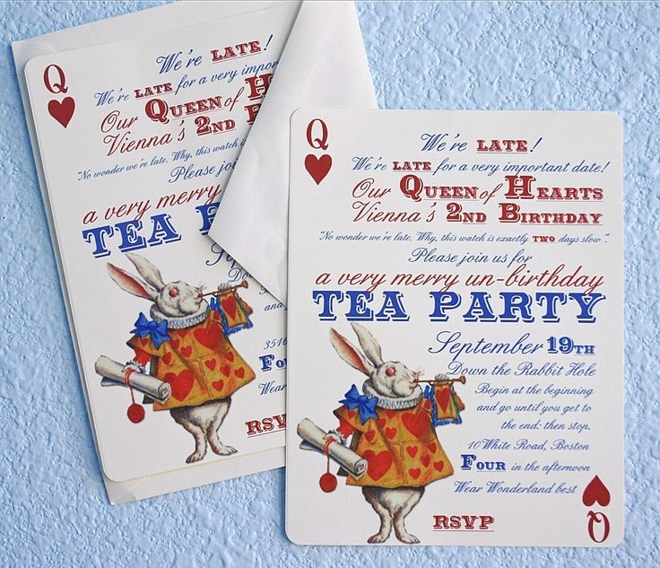 58 best Queen of hearts party images – Alice in Wonderland Birthday Cards