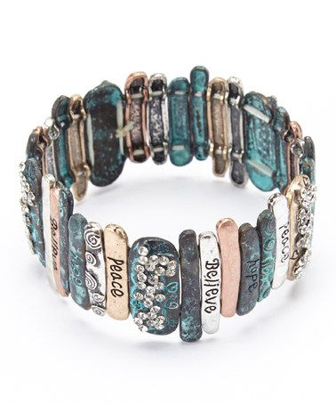 Take a look at this Antique Silver & Gold 'Believe' Stretch Bracelet by Mica on #zulily today!