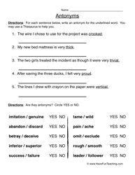antonyms worksheet 2