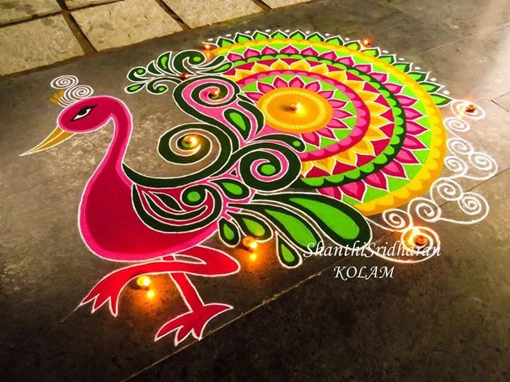 #mandala#peacock#pink#green#kolam#yellow