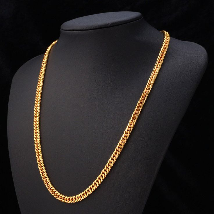 "… Gold Chain For Men Jewelry With ""18K"" Stamp 18K Real Gold Plated 22″ …"