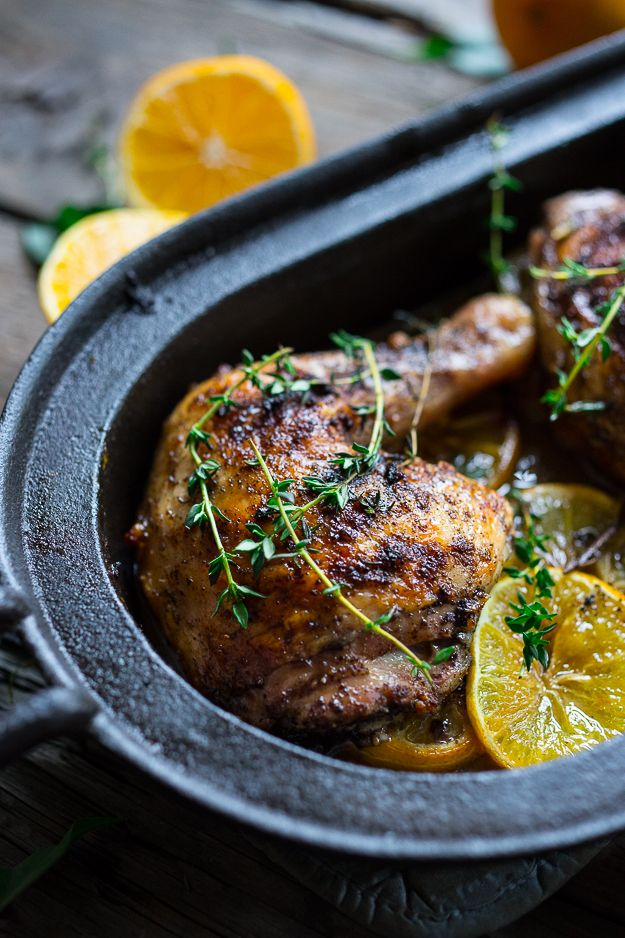 Roasted Sumac Chicken with Meyer Lemons...juicy and flavorful, this rustic Middle Eastern dish is EASY, gluten free... and mouth-wateringly delicious!  | www.feastingathome.com