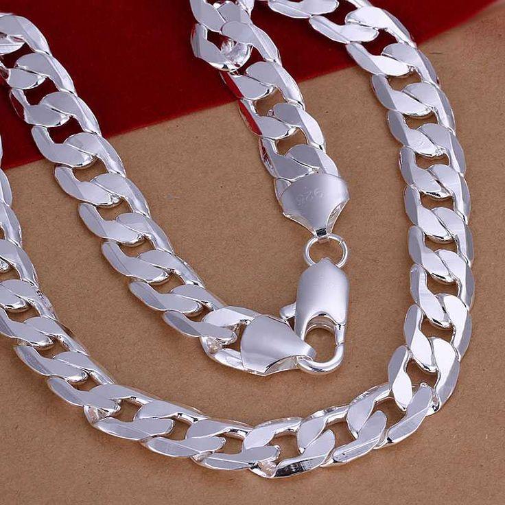 Новый Дизайн! Оптовая Посеребренная Ожерелье & Кулон, Ювелирные Изделия Аксессуары, Мужские 12 М Плоским Боком цепочки, Ожерелья
