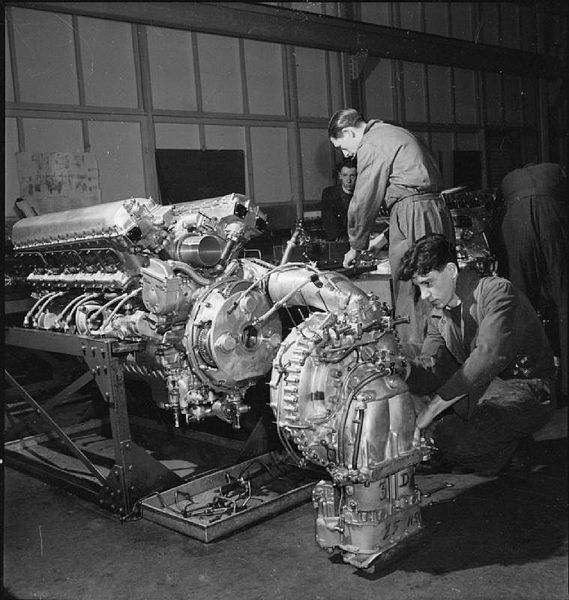 Production of Merlin Engines at a Rolls Royce Factory.