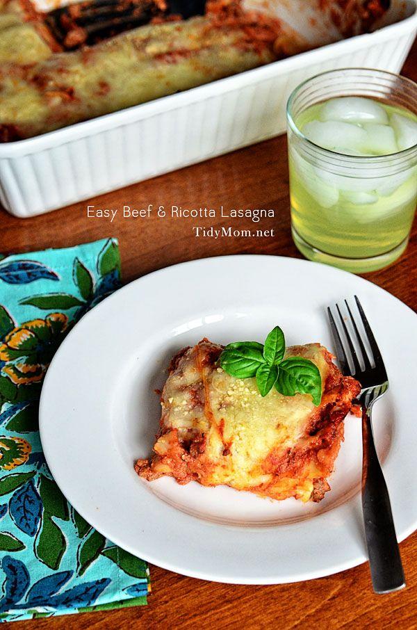 Easy and Delicious Beef & Ricotta Lasanga recipe the whole family will love! Recipe at TidyMom.net