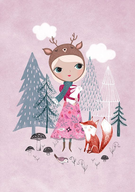 Deer Girl....Giclee print of an original by DrawnByRebeccaJones