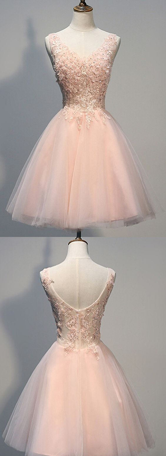 Pink Prom Dress,V Neck Prom Dress,Applique Prom Dress,Tulle