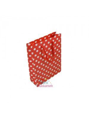 Kırmızı Beyaz Puanlı Kağıt Çanta (17x11 cm)