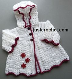 Free crochet pattern for hooded coat from http://www.justcrochet.com/hooded-coat-usa.html #patternsforcrochet #freecrochetpatterns