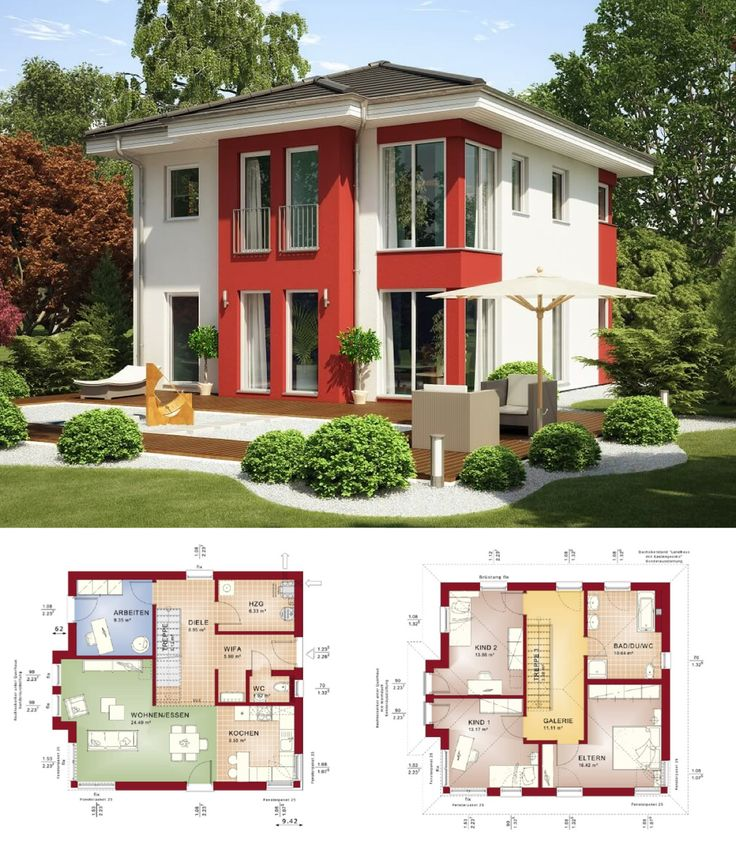 Perfect MODERNE STADTVILLA_ Haus Evolution 136 V2 Bien Zenker   Fertighaus Bauen  Walmdach Fassade Putz Rot Weiß
