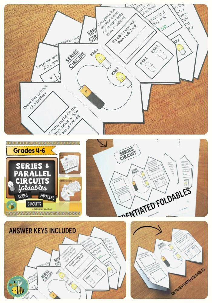 FUN foldables to introduce or review series and parallel circuits for grades 4-6. Differentiated versions included. Foldables will fit in interactive science notebooks (composition notebooks). Suggestions for use: interactive science notebooks, lapbooks, assessments, science centers activities or homework.