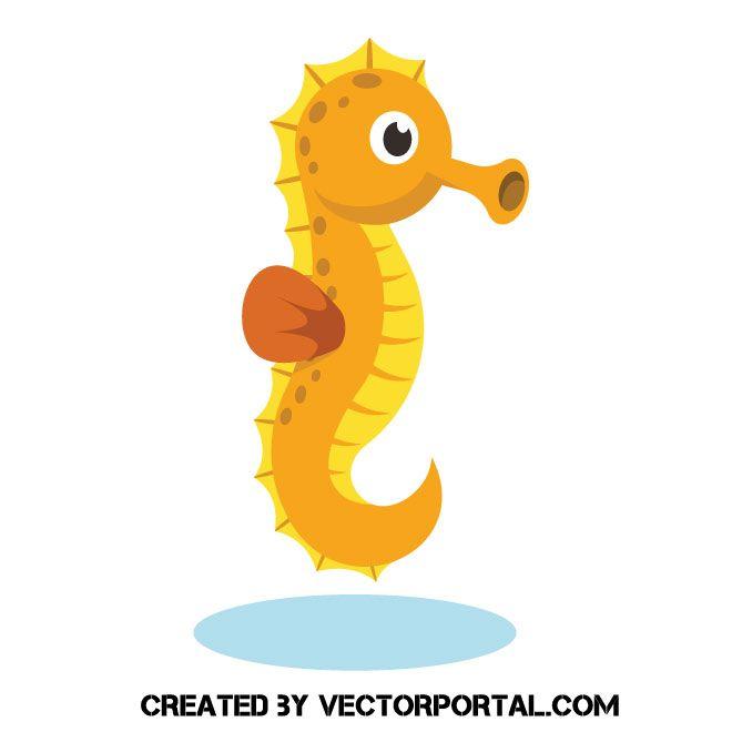 Orange Seahorse In 2021 Vector Free Animal Free Cartoon Styles