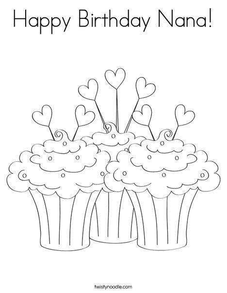 Happy Birthday Nana Coloring Page