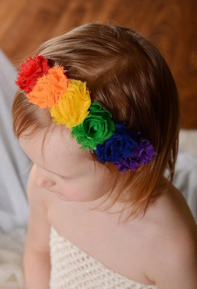 Rainbow Birthday Mini Shabby Flower Headband - Birthday 852e2586e62