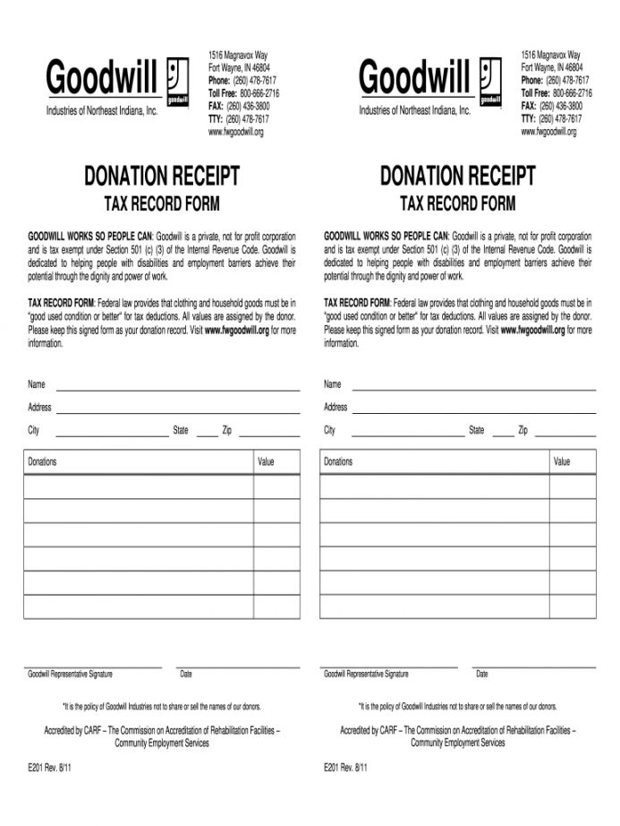 Browse Our Sample Of Thrift Store Donation Receipt Template Receipt Template How To Raise Money Goodwill Donations