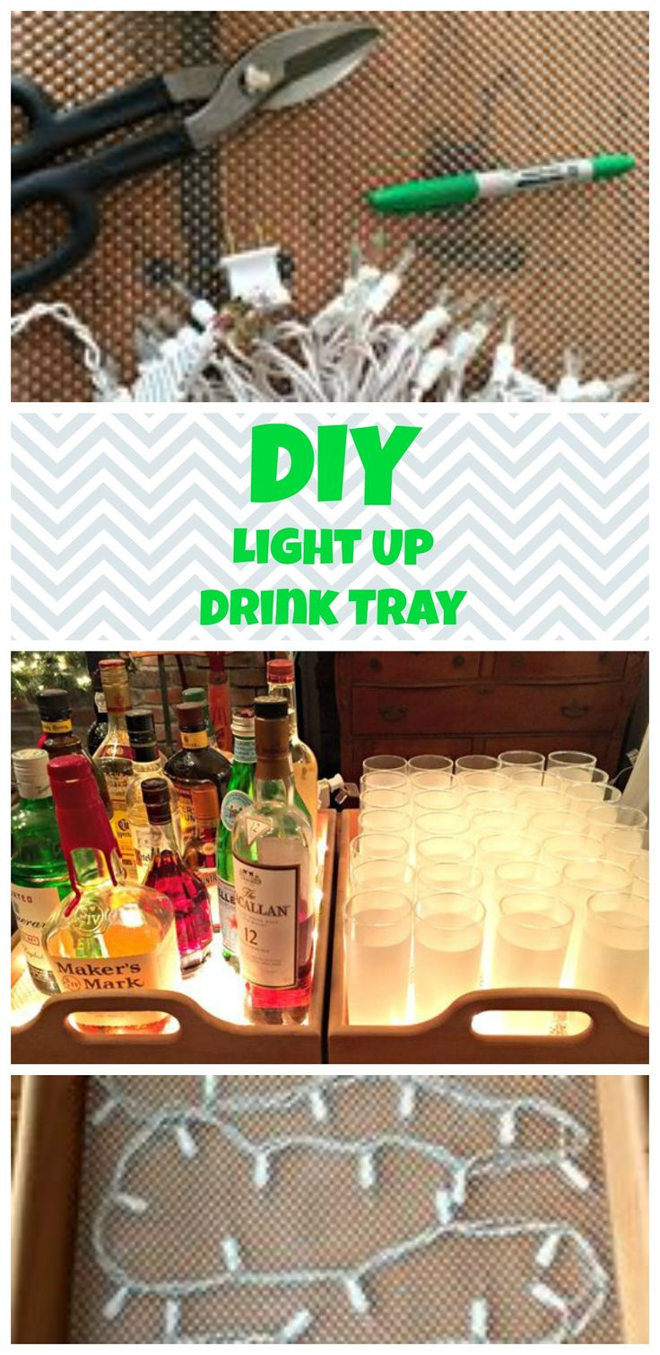 DIY lighted tray for a bar cart or party