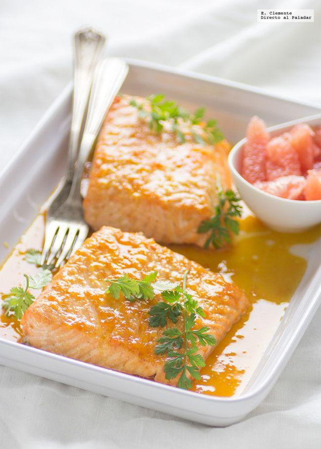 Salmón al horno con salsa de cítricos y jengibre.Receta | https://lomejordelaweb.e