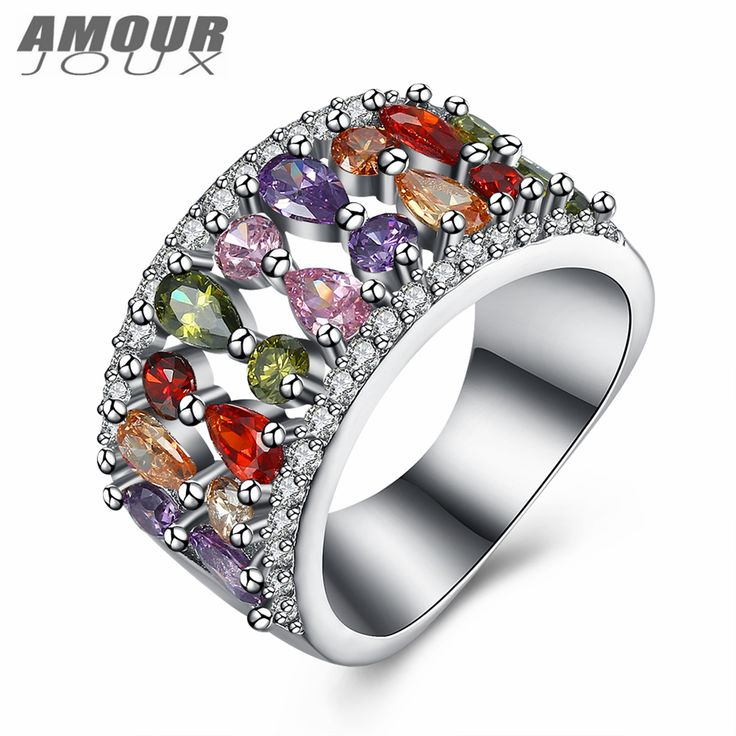 >> Click to Buy << AMOURJOUX Cute Waterdrop Shaped Colorful AAA Zircon Inlay White Gold Color Band Rings For Women Wedding Engagement Ring #Affiliate